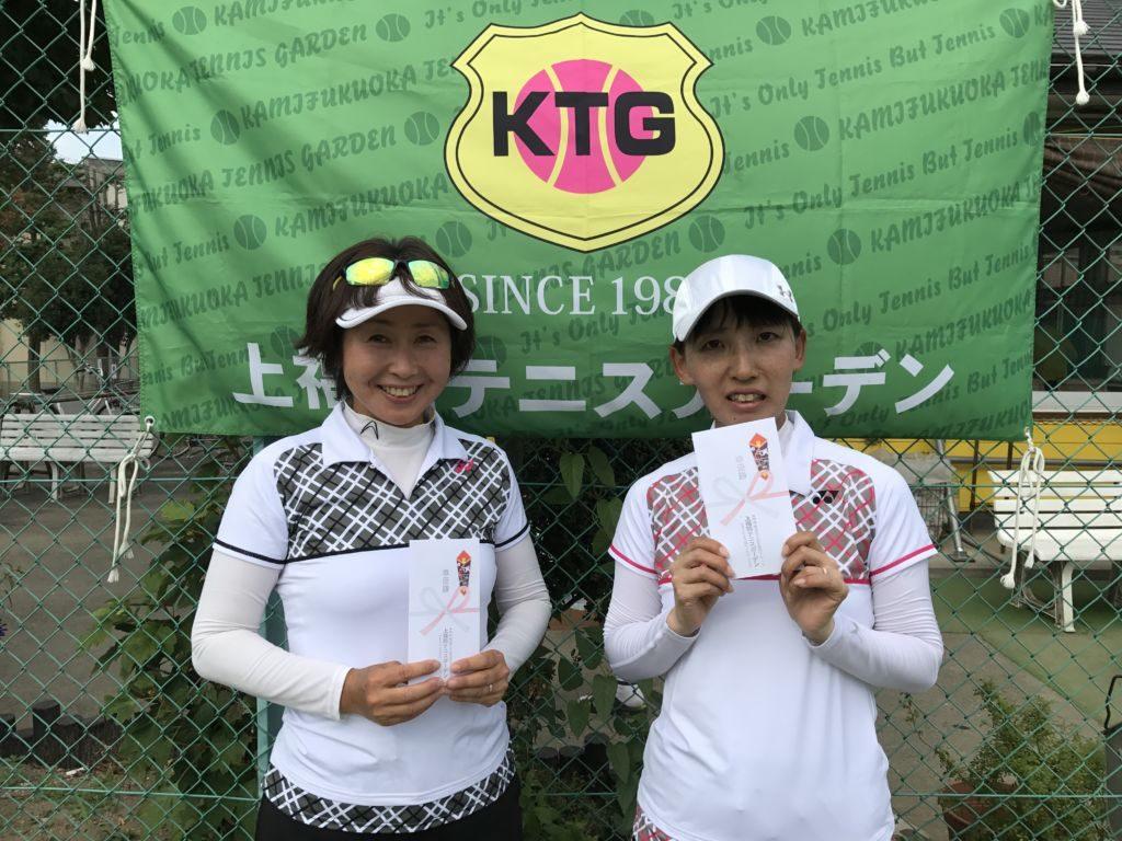 準優勝の菊地由香(左)・高橋けいこ(ココナッツ・クローバー)組