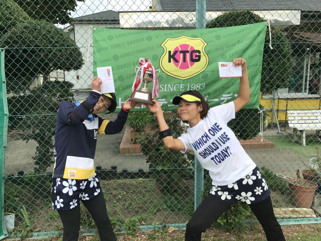 優勝の片岡美千子(左)・中條明子組